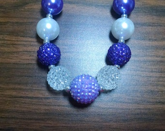 Purple and White Everyday Toddler Bubblegum Necklace