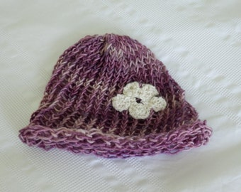 Baby Girl Beanie Hat with flower, Fair Trade Baby Girl Hat, Pink and Cream Baby Girl Hat, Unique Baby Girl Hat