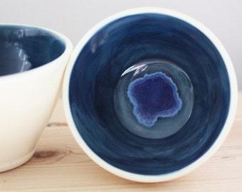 Dark Celadon Blue Ceramic Bowl Set – Set of Blue and White Bowls – Nesting Bowls – Handmade Pottery Bowls – Pottery Bowl Set