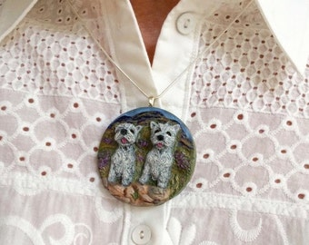West Highland Terrier Necklace/Pendant ~ Handmade ~ 3 Dimensional Design
