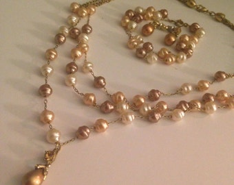 Pretty Brown, Tan, and Cream Pearl Jewelry Set