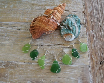 Sterling silver sea glass necklace  seaglass