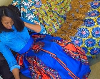 Bright Blue Dashiki print skirt. African maxi skirt