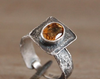 citrine silver ring, oxidized silver ring