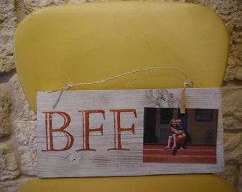 Pallet art, wood rustic sign, BFF