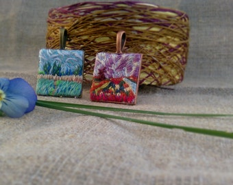 Hand embroidery pendant | Claude Monet's miniatures | 25 mm size | gentle quiet colors, pink and blue. Jewelry and reproduction.