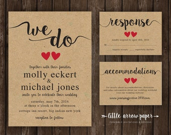 We Do Simple Rustic Wedding Invitation Bundle - Invitation, Response, and Details - Printable Customized