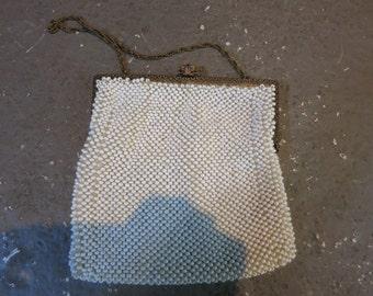 Vintage White Bead Clutch
