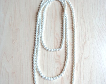 Long White Pearl necklace. Necklace Pearl vintage.