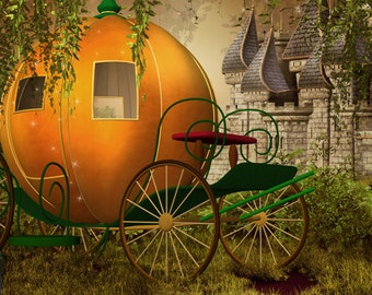 pumpkin car Photography Backdrop-A fairy tale photo Background for srudio or family party-Halloween photo backdrop  D-8646