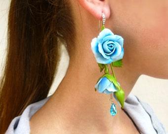 Long earrings Sky blue earrings Flower earrings Gift for women Cute earrings Rose earrings Flower jewelry Floral earrings Unique earrings