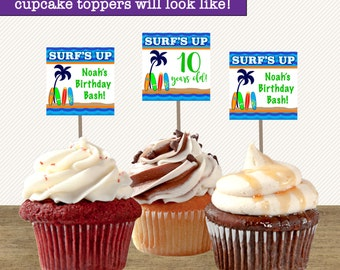Surfs Up Cupcake Toppers Birthday; Surfboard Cupcake Toppers Printable; Surf Party; Beach Cupcake Toppers; Luau Cupcake Topper; Summer Party