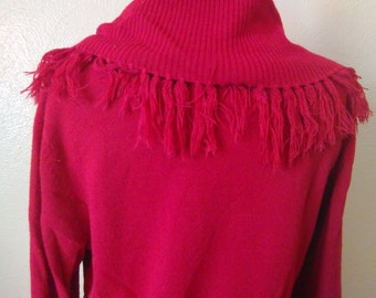 Vintage Red Mock Turtleneck Sweater, Vintage Fringe Sweater, Classic Red Sweater