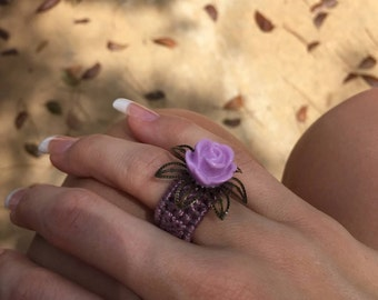 Lavender woven flower ring