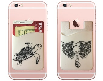 Two, Turtle and Elephant stick on wallet phone pocket credit card holder for your iPhone and Android.
