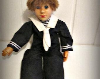 Vintage Porcelain Boy Doll, Sailor Doll, Kasma Matrose, Costume Doll, Porzellanpuppe Kasma Matrose