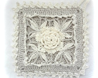 Irish Rose Potholder, Crochet Potholder, Square Crocheted Pot holder, Shabby Chic Decor Potholder's