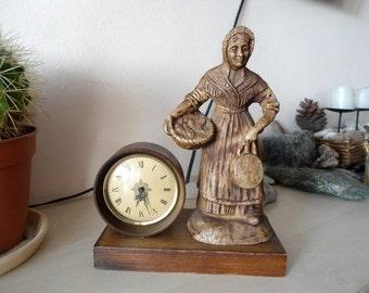 Beautiful table clock, Vintage table clock, Retro table clock, mechanical table clock, made in DDR, 1970s table clock, rare table clock
