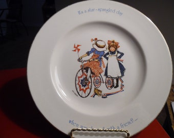 1976 Holly Hobbie Porcelain Plate Star Spangled Day Freedom Series