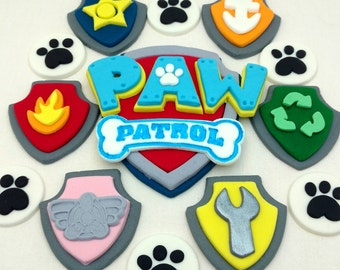 Paw Patrol Cake Topper, Logo, Badges and Paw Prints Complete Fondant Birthday Decorations