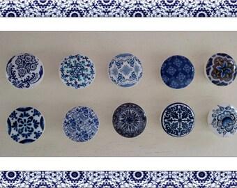Wood Drawer Knob Pull - Blue Porcelain - Custom