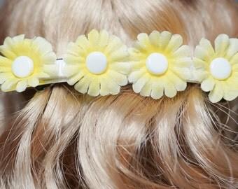 girls 80 mm yellow daisy french barrette
