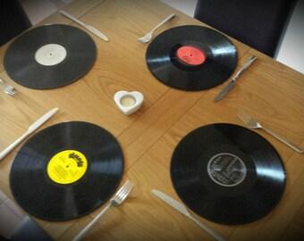 Set of 4 retro / vintage record Placemats
