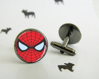 Spiderman - Cufflinks with glass cabochon - Special wedding gift