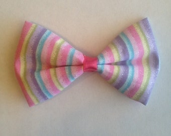 Rainbow Stripes Hair Bow