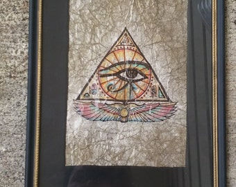 Egyptian - Eye of Horus (Original Beeswax Craquelure) Watercolor