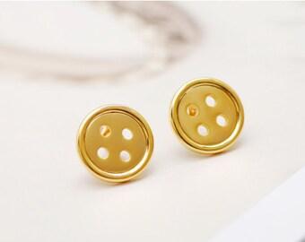button earrings, gold button earrings, button earrings, minimalist earrings