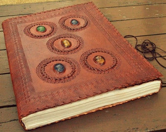 Handcrafted Premium Leather Diary Journal Notebook Sketchbook with 5 Gem Stones and a String Tie to Protect Your Secrets