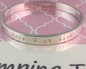 Personalised Hand Stamped Stainless Steel Cuff Bangle 18cm