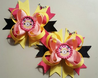Minion Pink Girls Hair Bows.  Set of 2