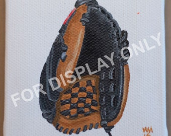 """Baseball Glove 3""""x3"""" Mini Acrylic Painting on Stretched Canvas"""