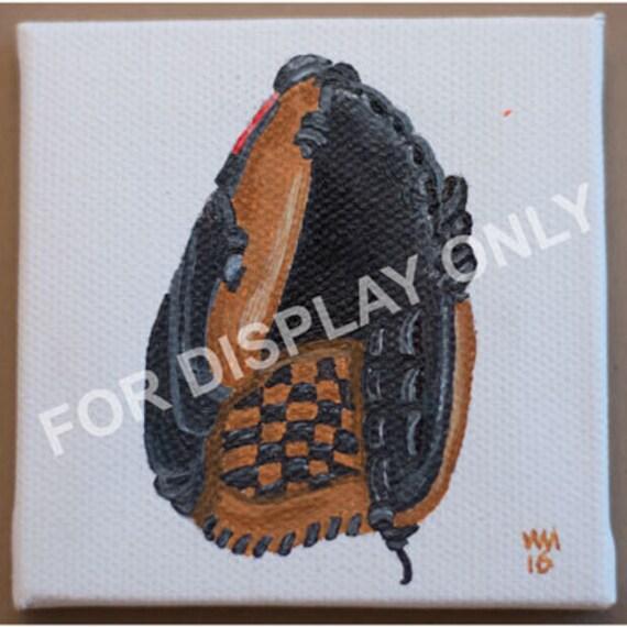 Baseball Glove Paint : Baseball glove mini acrylic painting on
