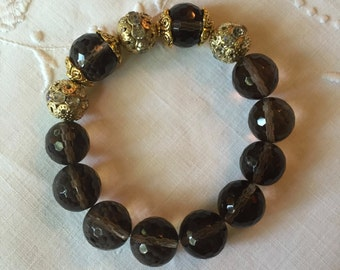 Faceted Smoky Quartz Bead Bracelet