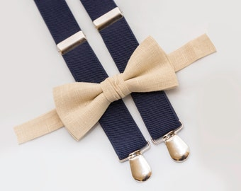 Champagne Bow Tie & Navy Blue Suspenders, Wedding Boys Bow Tie, Ring Bearer Outfit