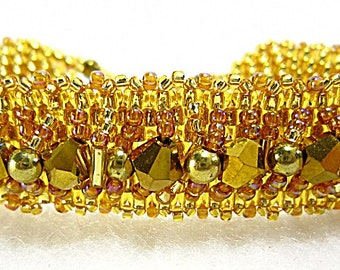 Gold Beaded Crystal Embellished Handmade Bracelet
