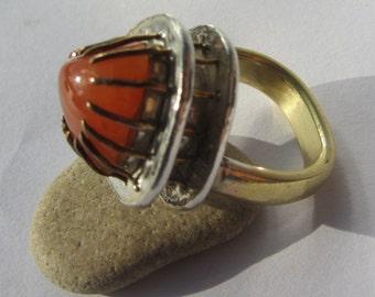 Goldring mit rotem stein  Karneol gold ring | Etsy