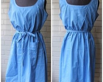 20% Off Entire Shop - Vintage Chambray Elastic Waist Pocket Dress - ADORABLE! - 1980s - Size XL, Plus Size, 14-16