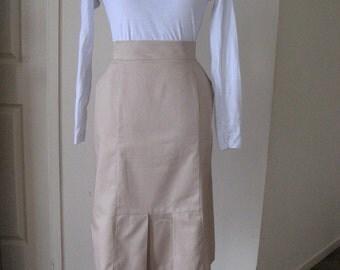 80s Inspired Straight Tan Skirt/ Waist High Skirt/ Caramel Pencil Skirt