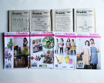 Apron Pattern, Four Simplicity Patterns Mother and Daughter Apron Patterns for Sewing Simplicity Sewing Patterns 1521A 2295 2492 3746 Uncut