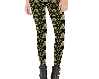Gold Drop Patterned Leggings - Made in U.S.A