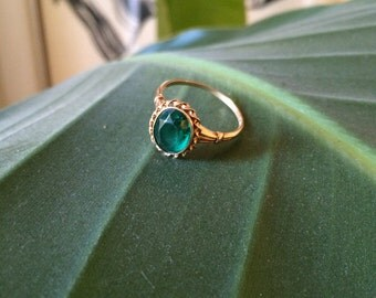 Brilliant Green Onyx Art Deco ring in 10k