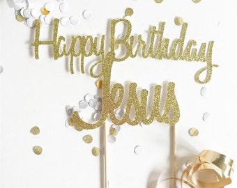 Happy Birthday Jesus cake topper // Christmas cake topper // Christmas decor // holiday cake // Christmas cake