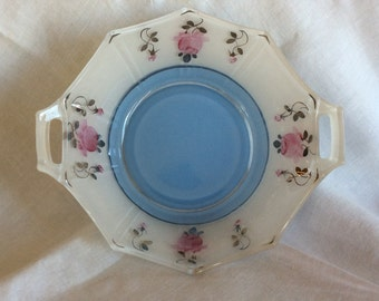 Art Deco Indiana glass handle serving bowl octogonal dish inverted Pink roses flowers pattern and soft blue