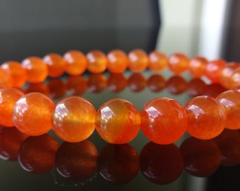 South American Orange Topaz Bead Bracelet for Men (On Stretch) 8mm AAA Quality