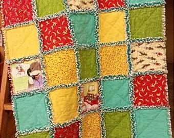 "FUNKY MONKEY Rag Quilt KIT - 40 Precut Pre-Fringed 10"" Squares / Blocks  - Moda Fabric + Pattern // Children's Quilt"