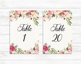 Wedding Table Numbers 1-20, Printable Table Numbers, Rustic Floral Table Numbers, Boho Floral Wedding Decor, 4x6, PrintableTable Numbers